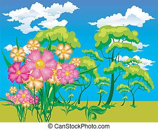 花, 風景, 木