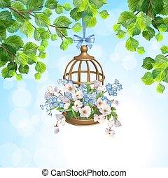 花, 鳥かご