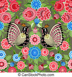 花, 鳥, 手ざわり, seamless