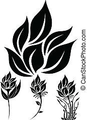 花, 黑色半面畫像