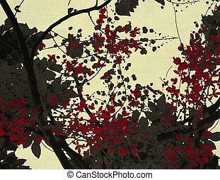 花, 黑色的背景, 打印, 红, 奶油