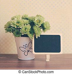 花, 黒板, 効果, フィルター, レトロ, ブランク