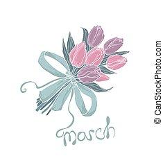 花, 3月, card., bouquet., 挨拶, 女性, デザイン, テンプレート, 8, 日