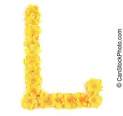 花, alphabet., l, 手紙