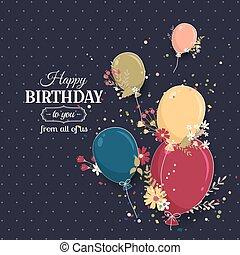 花, birthday, グリーティングカード