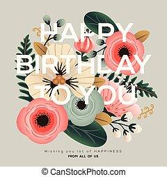 花, birthday, 現代, カード