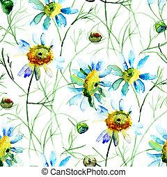 花, camomile, 壁紙, seamless
