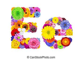 花, e, アルファベット, -, 隔離された, 手紙, 白