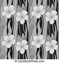 花, grayscale, seamless
