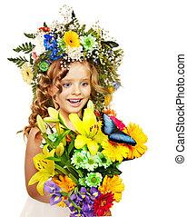 花, hairstyle., 子供