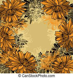 花, hand-drawing., chrysanthemums., 背景, 黄色