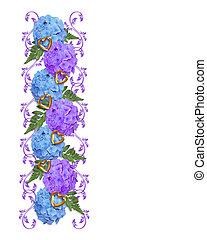 花, hydrangeas, ボーダー, 心