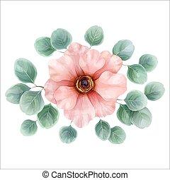 花, illustration., 水彩画, ベクトル, デザイン, 植物