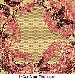 花, illustration., butterflies., レース, ばら, ベクトル, 背景
