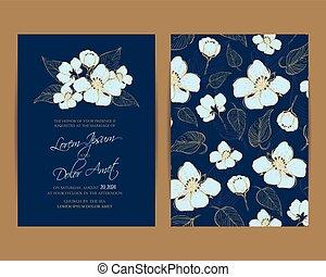 花, invitation., 背景, 結婚式