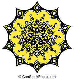花, mandala, pattern.