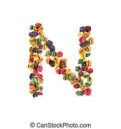 花, n, アルファベット, 隔離された, 乾かされた, 背景, 白