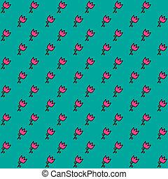 花, pattern., seamless, vector.
