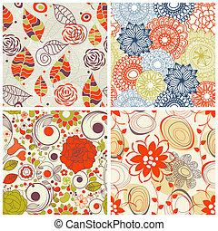花, seamless, パターン, セット, 中に, 最新流行である, 色