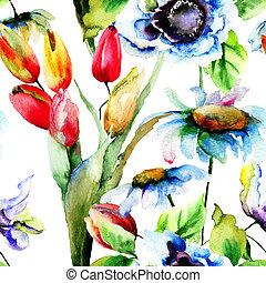 花, seamless, 壁紙, チューリップ, camomile