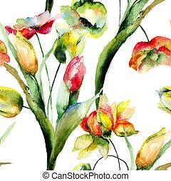 花, seamless, 壁紙, ロマンチック