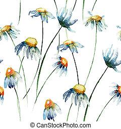 花, seamless, 壁紙, camomile
