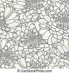 花, seamless, 手, ベクトル, 黒い背景, 引かれる, 白