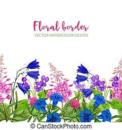 花, seamless, 藍色, 粉紅色, 水彩, 邊框