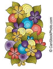 花, sketch., 跡, 装飾, インク, 手, mandala., 作られた, テンプレート, パターン, 花, 引かれる, design.