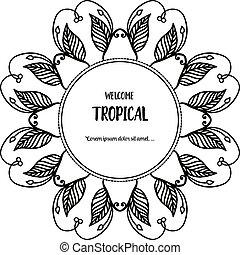 花, wellcome, フレーム, イラスト, トロピカル, ベクトル, 様々, デザイン, 旗