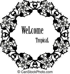 花, wellcome, フレーム, イラスト, トロピカル, 優雅である, ベクトル, 招待, カード