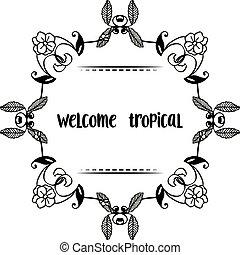 花, wellcome, フレーム, イラスト, トロピカル, 優雅である, ベクトル, 様々, カード