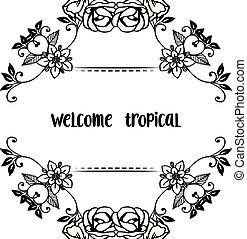 花, wellcome, フレーム, 装飾, イラスト, トロピカル, 形, ベクトル, カード