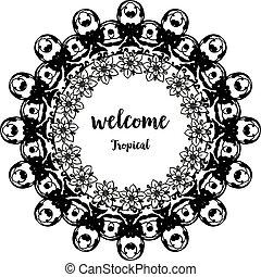 花, wellcome, ポスター, フレーム, イラスト, トロピカル, ベクトル, デザイン, テンプレート