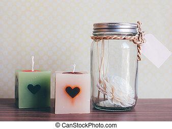 芳香, 瓶子, 以及, 蠟燭, 為, 礦泉, 裝飾