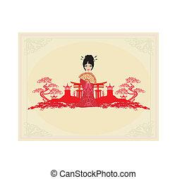 芸者, 抽象的な風景, アジア人, 美しい
