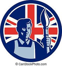 芸術家, ブラシ, ロゴ, トーチ, circ-uk-flag-icon