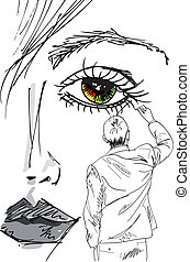 芸術家, 引く, 美しい女性, face., ベクトル, イラスト