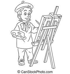 芸術家, 絵, ページ, 着色