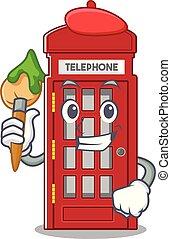 芸術家, 電話ボックス, 形, 特徴, マスコット