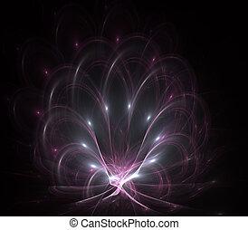 芸術形式, パターン, 抽象的, 現代, らせん状に動きなさい, art., 白熱, hole., 発生させる, コンピュータ, 黒, colors., デジタル, 創造的, フラクタル, element., design.
