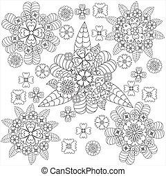芸術, いたずら書き, whith, ベクトル, パターン, 花, 花