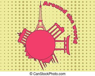 芸術, のまわり, 魅力, 旅行, tourism., ポンとはじけなさい, 建築である, ベクトル, 背景, 惑星, world., style., illustration.