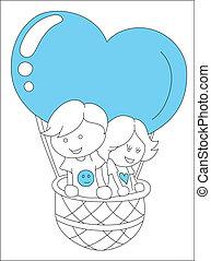 芸術, の, 子供, 上に, 心, balloon