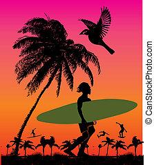 芸術, やし, ベクトル, 浜, サーファー