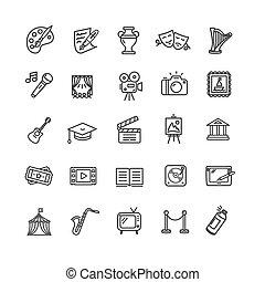 芸術, アイコン, set., 創造的, 文化, ベクトル, 大丈夫です