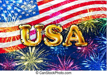芸術, アメリカ, 金, flag., アメリカ人, ベクトル, 4, 7月, 花火, 風船, 日, 独立, 幸せ
