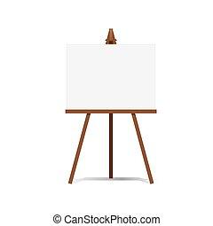 芸術, イーゼル, そして, ブランクのカンバス, スペース, 準備ができた, ∥ために∥, あなたの, 広告, そして, プレゼンテーション, vector.