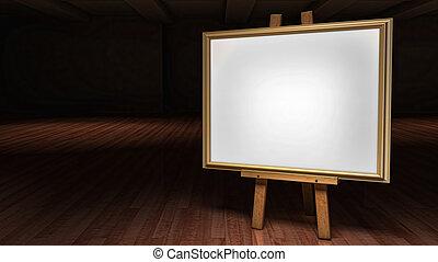 芸術, イーゼル, ∥で∥, ブランク, 枠にはめられた, キャンバス, 中に, a, 暗くされた, ギャラリー