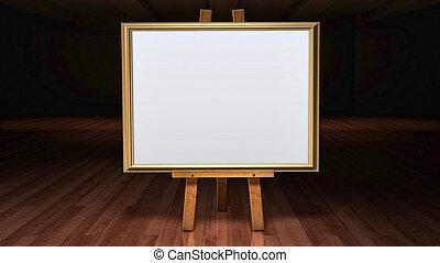 芸術, イーゼル, 中に, a, 暗くされた, ギャラリー